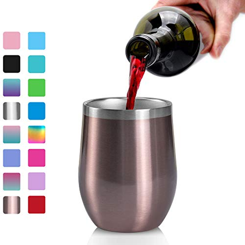 Stainless Steel Wine Glasses Tumbler, Arteesol 12oz Double Insulated Wall Vacuum with Lids Unbreakable Cups - Perfect for Wine,Coffee,Drinks,Champagne,Cocktails (Rose Gold)
