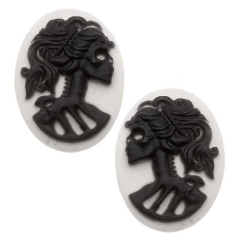 Lucite Oval Cameos - White With Black Lolita Skeleton (Left & Right) - 2 Pairs -
