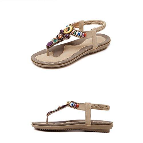 Beach Donna Summer Bohemian Dimensioni Eu43 cn44 Retro uk9 A Clip Toe Rhinestone Piatto Colore Sandali B Zhirong Shoes Fondo tEq1v1
