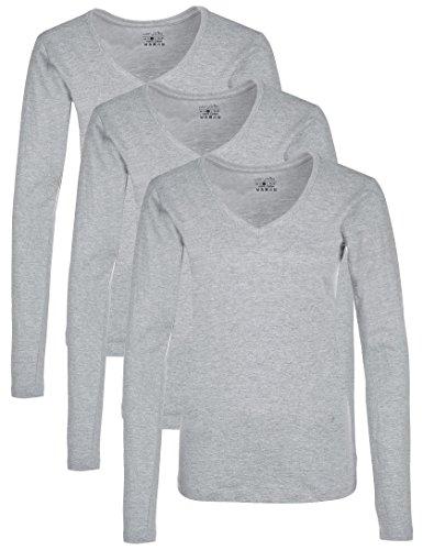 Berydale Camiseta de manga larga de mujer, con cuello de pico, lote de 3, en varios colores Gris