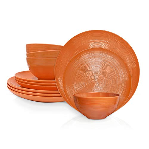 Zak Designs American Conventional Melamine 12 Piece Dinnerware Set Service for 4 Includes Dinner Plates, Salad Plates…