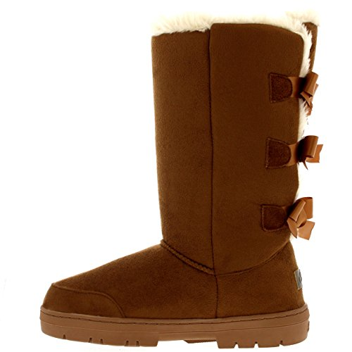 Color Mujer Tall Tostado Triplet Bow Fur Nieve Impermeable Classic Invierno Botas Rain rTvnqrxEw6