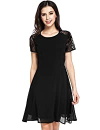 Meaneor Women's Short Sleeve Pleated Lace Slim Lace Fit-and-Flare Dress