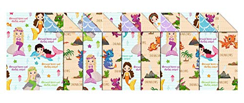 Ursus Kids 11472299 Photo Card 10 Sheets Card 300 g/m² Approx. 49.5 x 68 cm, Assorted in 2, Fresh Cellulose, Printed on Both Sides, Front with Dragon or Mermaid Motif, Colourful