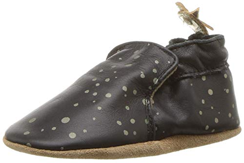 Robeez Girls' Soft Soles with Bow Back Crib Shoe, Galaxy Girl Black, 0-6 Months M US Infant