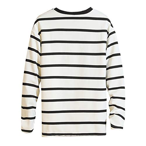 MIS1950s Mens Cotton Blend T-Shirt Fashion Casual Striped Printing Long Sleeve O-Neck Loose Comfy Tops Tee ()