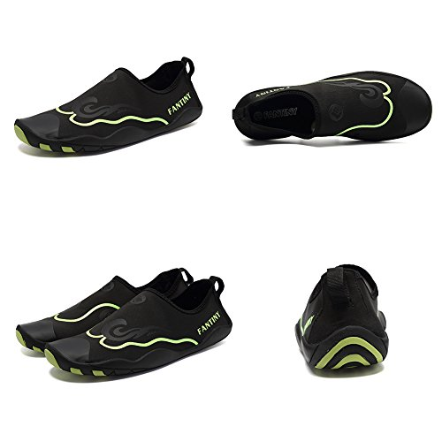 CIOR Men Women Kid's Barefoot Quick-Dry Water Sports Aqua Shoes With 14 Drainage Holes For Swim, Walking, Yoga, Lake, Beach, Garden, Park, Driving,DND012,1Black,44 3