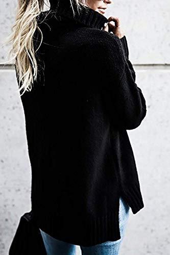 Moyenne Noir à Femme haut Pulls Hiver longues col Gris manches Taille couleur et Zhrui qw5OxC7Tw