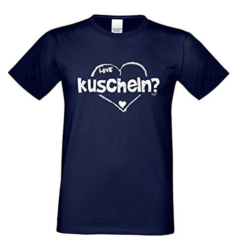 T-Shirt - Love - kuscheln Shirt Farbe dunkelblau - romantisches Sprüche Shirt als Geschenk zum Valentinstag