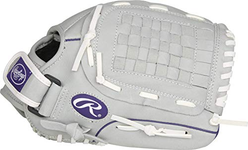 Rawlings Sure Catch Series Fastpitch Softball Glove, Purple/Grey/White, Right Hand Throw