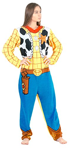 Toy Story Sheriff Woody Union Suit Costume Pajama (Adult (Woody And Jessie Costumes For Adults)