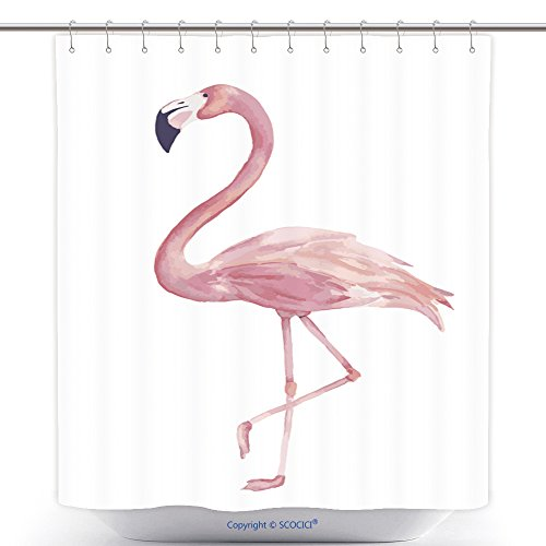 Custom Shower Curtains Watercolor Exotic Flamingo Summer Decoration Print For Wrapping Wallpaper Fabric Card Vector 460747840 Polyester Bathroom Shower Curtain Set With Hooks (Outdoor Fabric Calgary)
