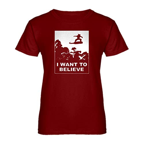 Womens I Want to Believe Nimbus Fighter XX-Large Red T-Shirt -