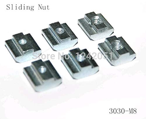 MAO YEYE 50pcs/lot T Sliding Nut Block M8 for 3030 Aluminum Profile Slot 8 Zinc Coated Plate Aluminum Accessories by MAO YEYE