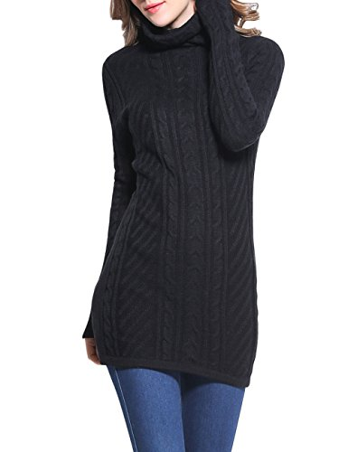 Acrylic Neck Cowl - Rocorose Women's Cowl Neck Sweater Long Sleeves Knitted Long Sweater Black M