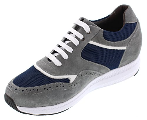 TOTO H41022-2.4 inches Taller - Size 9 D US - Height Increasing Elevator Shoes - Grey/Blue Super Lightweight Sneakers