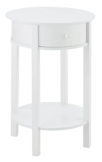 Delightful Round End Table In White