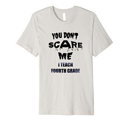 Mens Teacher Premium Shirt 4th Grade Fourth Scare Me Halloween Small Silver