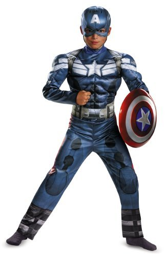 Falcon America Costume Captain (Disguise Marvel Captain America The Winter Soldier Movie 2 Captain America Classic Muscle Boys Costume, Large)