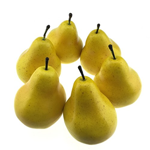 Gresorth 6pcs Artificial Lifelike Simulation Pear Fake Fruit Home Decoration