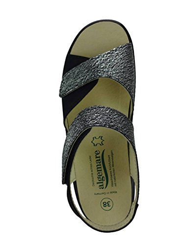 Algemare Damen Sandalette Graphit Nubuk Keilpantolette mit Algen-Kork Wechselfußbett Made in Germany 2576_0388 eleganter Freizeitschuh, Größe:36