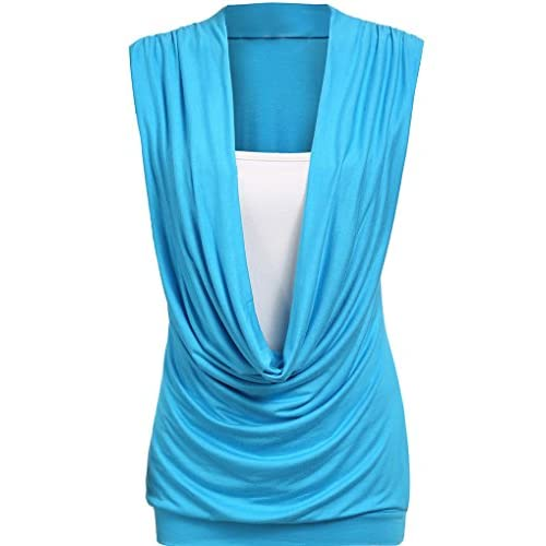 d9b335de35e8 OURS Women's Ruched Cowl Neck Contrast Insert Sleeveless Stretch Vest  T-Shirt Top durable service