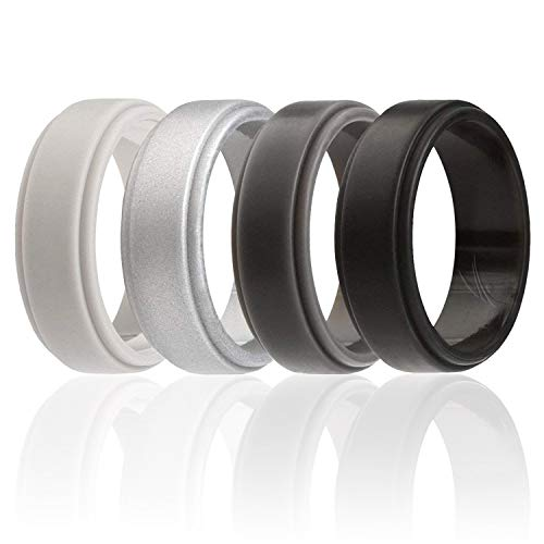 ROQ Silicone Wedding Ring for Men, 4 Pack Silicone Rubber Band Step Edge - Black, Grey, Light Grey, Silver - Size -