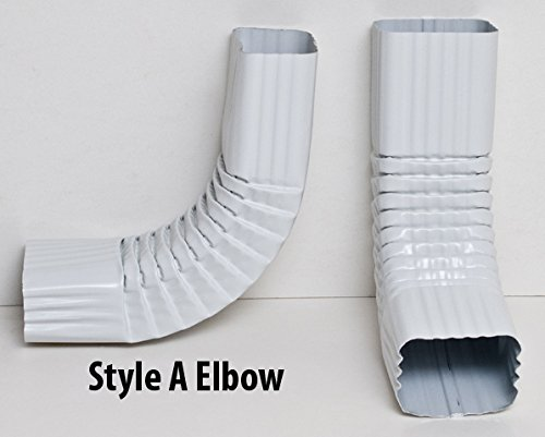 2x3 and 3x4 - Downspout Gutter Elbows - Choose from 30 degree, 45 degree, 75 degree 90 degree (90 degree, Style A, 3x4, Low Gloss White)