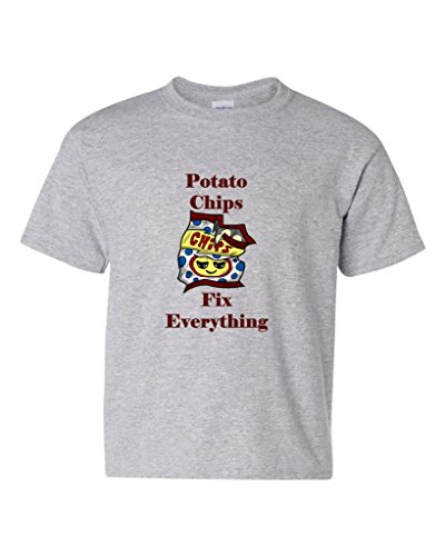 Potato Chips Fix Everything DT Novelty Youth Kids T-Shirt Tee (Small, Sports Gray)