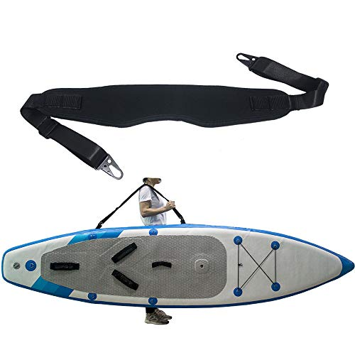 (ZipSeven SUP Carrier Shoulder Strap for Kayak Paddle Board Carrying Length Adjustable Quick Attached Metal Hooks Accessories Black)