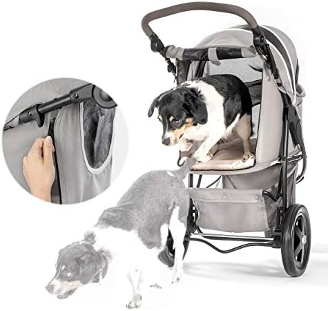 419QFr4Xa%2BL. AC - Hauck TOGfit Pet Roadster - Luxury Pet Stroller For Puppy, Senior Dog Or Cat | Easy Foldable Three Wheels Travel Pet Jogger Max. Loading 70 Lb, Mattress Included - Gray