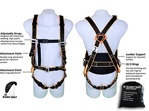 Kiting Harness for Ground Handling - Perfect for Paragliding, PPG, Powered Paragliding, Paramotoring, Paraglider, Paramotor, Kiteboarding, Kiting, and Training Harness - Lumbar Support from All Weather Sport