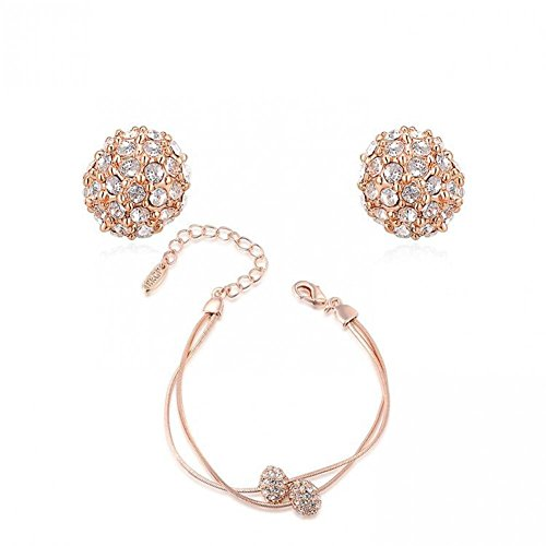 Prime Leader Fashion Simple Jewelry Set for Women Bridesmaid Rose Gold / 18K White Gold Plated Alloy Druzy Crystal Bracelet & Earrings Set