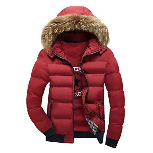 Fur Waterproof with BOLAWOO Quilted Fashion Coat Hood Padded Jacket Warm Faux Down Brands Men's Hooded Thicken Rot Leisure Parka Windproof Detachable Coat Padded rwqxaY4qv0