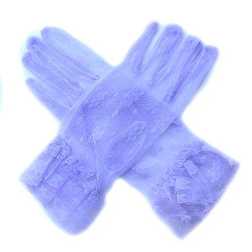 Women's Vintage Sheer Floral Lace Short Wrist Length Gloves ()
