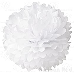 8 Inch Tissue Paper Flower Pom Poms, Pack of 5, White