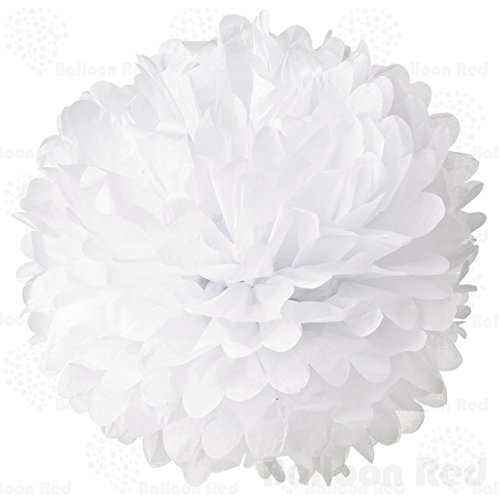 Rainbow Bright Homemade Costume (8 Inch Tissue Paper Flower Pom Poms, Pack of 5, White)