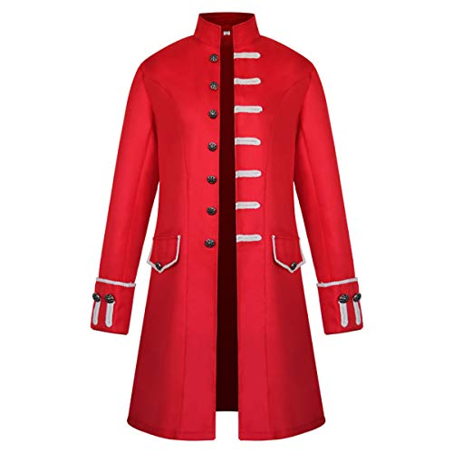 iCos Unisex Medieval Steampunk Coat Men Stand Collar Jacket Formal Halloween Costume Uniform (Medium, Red)]()
