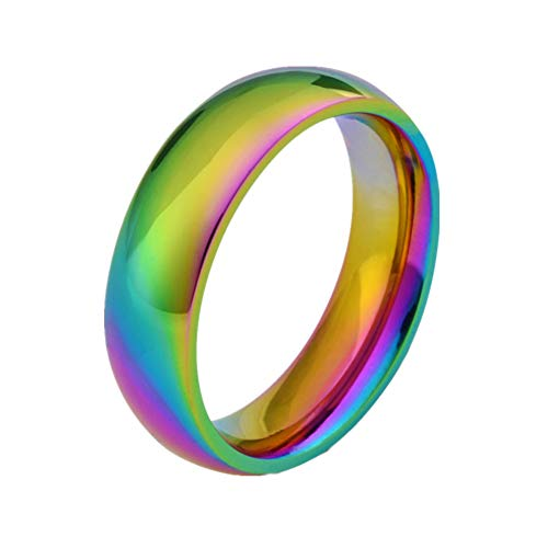 WaMLFac 6MM Rainbow Wedding Bands Classic Titanium Stainless Steel Colorful Promise Band Rings Size 6-12