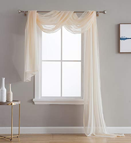Treatments Window Swags (HLC.ME Beige Sheer Voile Window Curtain Swag Scarf - Valance - Fully Stitched & Hemmed - 55