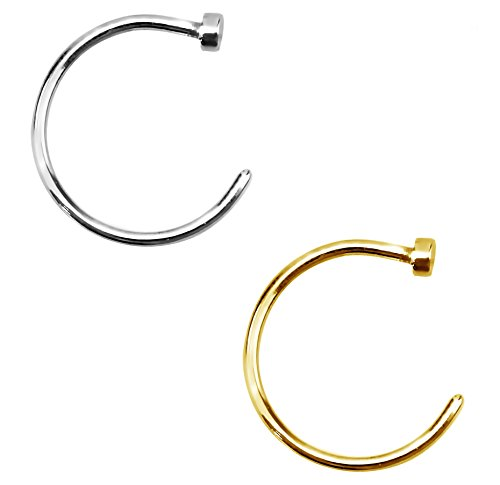 Forbidden Body Jewelry 20g 10mm Silver & Gold Tone Surgical Steel Perfect Basics Comfort Fit Nose Hoops (2pcs)