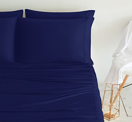 SHEEX LUXURY COPPER Pillowcases (Set of 2), Ultra-Soft, Breathable PRO+IONIC Copper Fabric for a Cool, Dry and Comfortable Night's Sleep, Navy (King)