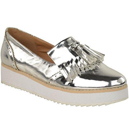 NUEVO DE MUJER MOCASINES CREEPER PUNK PLATAFORMA CON CORDONES ESCUELA ZAPATOS FORMALES TALLA - Plata Metálico, Mujer, 39 EU/6 UK: Amazon.es: Zapatos y ...