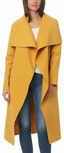 Malito Long Manteau avec Cascade-Design Gilet Veste Enrouler Bol