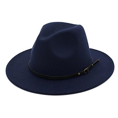Navy Blue Felt Hat - Lisianthus Women Belt Buckle Fedora Hat Navy-Blue