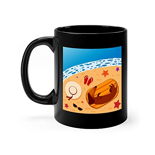 Dachshund On The Beach Sleeping A Towel Surrounded By Hats Slippers Sunglasses Starfish Funny Mugs 11 Oz Ceramic -