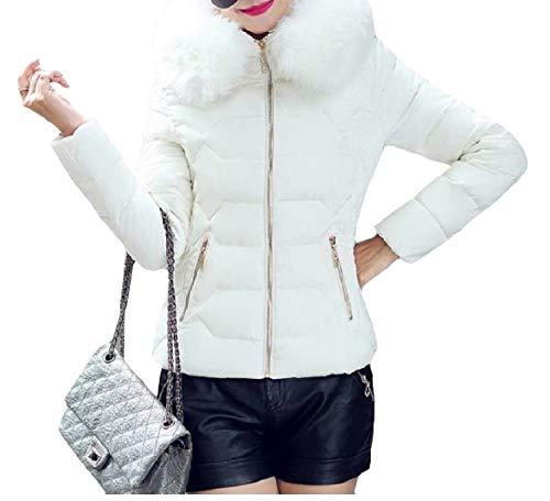 Howme-Women Thick Hood Short Mini Stylish Warm Lightweight Zip Down Coat White