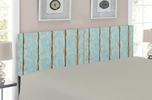 Lunarable Wood Print Headboard, Old Fashioned Weathered Rustic Planks Summer Cottage Beach Coastal Theme, Upholstered Decorative Metal Headboard with Memory Foam, for King Size Bed, Pale Blue ()