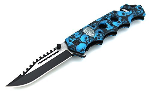 SNAKE EYE TACTICAL Green Skull Zombie Slayer GRIP HANDLE ASSISTED OPENING RESCUE POCKET KNIFE With Glass Breaker