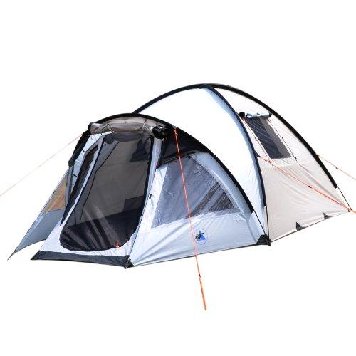 10T Glenhill 4 - 4-Personen Kuppel-Zelt mit Tunnel-Apsis Innenkabine 2-Eingänge Fenster WS=5000mm